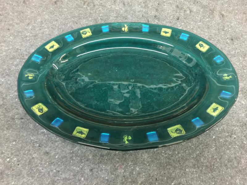 17 inch fused glass platter